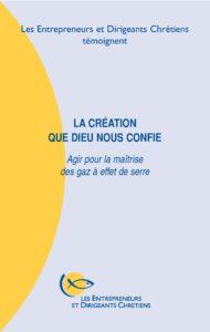 couverture du cahier : la création que Dieu nous confie