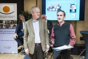 Jean-Marc Sémoulin et Nicolas Masson / 4 décembre 2018 : Remise du prix Philibert VRAU, par la fondation des entrepreneurs et dirigeants chrétiens. Paris (75), Paris.